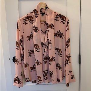Ann Taylor leopard tie neck blouse size s